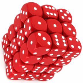 Red & White Opaque 12mm D6 Dice Block